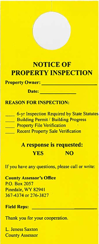 Example of Notice of Property Inspection door hanger